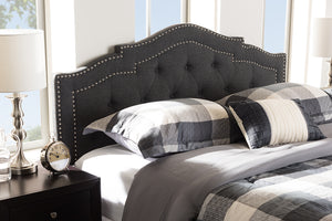 Baxton Studio Edith Modern and Contemporary Dark Grey Fabric King Size Headboard-Headboards & Footboards-HipBeds.com