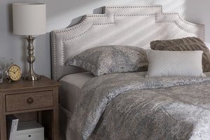 Baxton Studio Deena Modern and Contemporary Greyish Beige Fabric Full Size Headboard-Headboards & Footboards-HipBeds.com