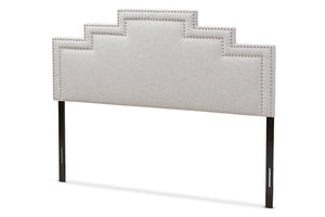 Baxton Studio Sophia Modern and Contemporary Greyish Beige Fabric Full Size Headboard-Headboards & Footboards-HipBeds.com