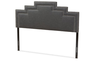 Baxton Studio Sophia Modern and Contemporary Dark Grey Fabric Full Size Headboard-Headboards & Footboards-HipBeds.com
