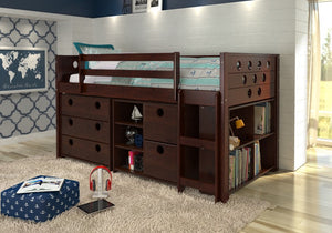 Donco Kids Circles Low Study Loft Bed 780-CP-Loft Beds-HipBeds.com
