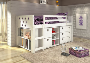 Donco Kids Circles Low Study Loft Bed White 780-W-Loft Beds-HipBeds.com