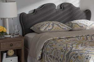 Baxton Studio Dalton Modern and Contemporary Dark Grey Fabric Full Size Headboard-Headboards & Footboards-HipBeds.com