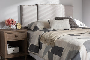 Baxton Studio Ibbie Modern and Contemporary Greyish Beige Fabric Twin and Full Size Expandable Headboard-Headboards & Footboards-HipBeds.com