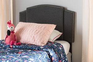 Baxton Studio Allenna Modern and Contemporary Dark Grey Fabric Twin and Full Size Expandable Headboard-Headboards & Footboards-HipBeds.com