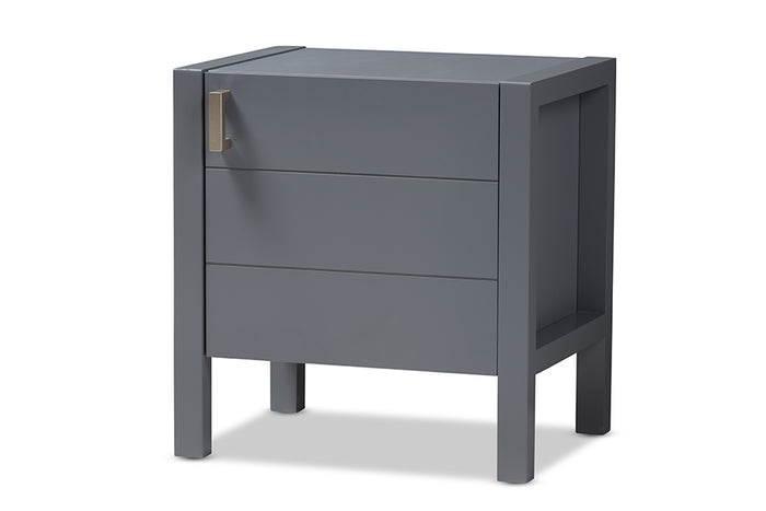 Baxton Studio Mandel Modern and Contemporary Grey Wood Nightstand