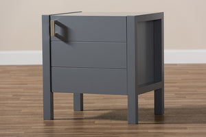 Baxton Studio Mandel Modern and Contemporary Grey Wood Nightstand-Nightstands-HipBeds.com