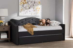 Baxton Studio Kaija Modern and Contemporary Dark Grey Fabric Daybed with Trundle Image 12