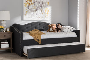 Baxton Studio Kaija Modern and Contemporary Dark Grey Fabric Daybed with Trundle Image 13