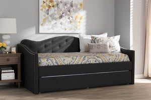 Baxton Studio Kaija Modern and Contemporary Dark Grey Fabric Daybed with Trundle Image 10
