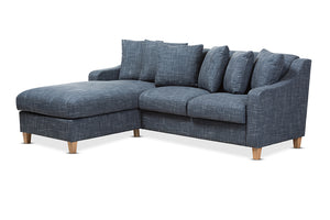 Baxton Studio Winslow Modern and Contemporary Blue Fabric Upholstered 2-Piece Left Facing Sectional Image 3