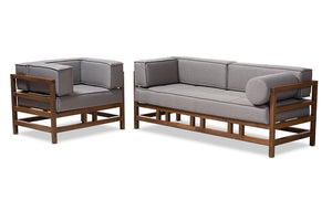 Baxton Studio Shaw Mid-Century Modern Grey Fabric Upholstered Walnut Wood 2-Piece Living Room Sofa Set Image 3