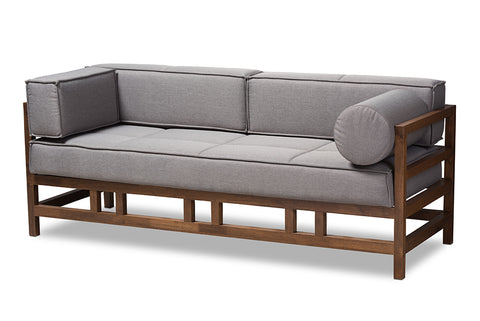 Baxton Studio Shaw Mid-Century Modern Grey Fabric Upholstered Walnut Wood 3-Seater Sofa-Sofas & Loveseats-HipBeds.com