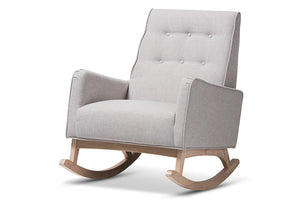 Baxton Studio Marlena Mid-Century Modern Greyish Beige Fabric Upholstered Whitewash Wood Rocking Chair-Rocking Chairs-HipBeds.com