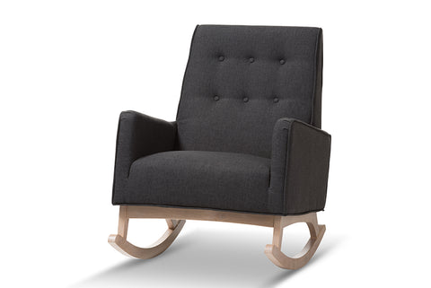 Baxton Studio Marlena Mid-Century Modern Dark Grey Fabric Upholstered Whitewash Wood Rocking Chair-Rocking Chairs-HipBeds.com