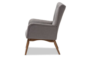 Baxton Studio Waldmann Mid-Century Modern Grey Fabric Upholstered Lounge Chair Image 5