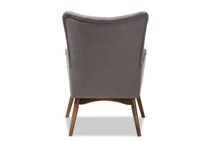 Baxton Studio Waldmann Mid-Century Modern Grey Fabric Upholstered Lounge Chair Image 6