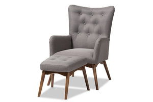 Baxton Studio Waldmann Mid-Century Modern Grey Fabric Upholstered Lounge Chair and Ottoman Set Image 3
