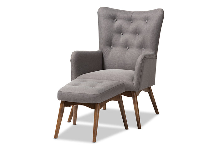 Baxton Studio Waldmann Mid-Century Modern Grey Fabric Upholstered Lounge Chair and Ottoman Set