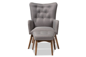 Baxton Studio Waldmann Mid-Century Modern Grey Fabric Upholstered Lounge Chair and Ottoman Set Image 4