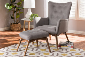 Baxton Studio Waldmann Mid-Century Modern Grey Fabric Upholstered Lounge Chair and Ottoman Set Image 9