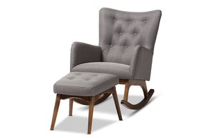Baxton Studio Waldmann Mid-Century Modern Grey Fabric Upholstered Rocking Chair and Ottoman Set-Rocking Chairs-HipBeds.com