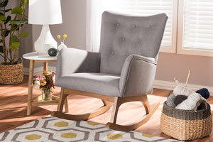 Baxton Studio Waldmann Mid-Century Modern Grey Fabric Upholstered Rocking Chair-Rocking Chairs-HipBeds.com