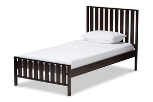 Baxton Studio Harlan Modern Classic Mission Style Dark Brown-Finished Wood Twin Platform Bed Image 3