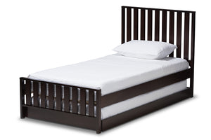 Baxton Studio Harlan Modern Classic Mission Style Dark Brown-Finished Wood Twin Platform Bed with Trundle-Beds with Trundle-HipBeds.com