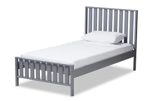 Baxton Studio Harlan Modern Classic Mission Style Grey-Finished Wood Twin Platform Bed Image 3