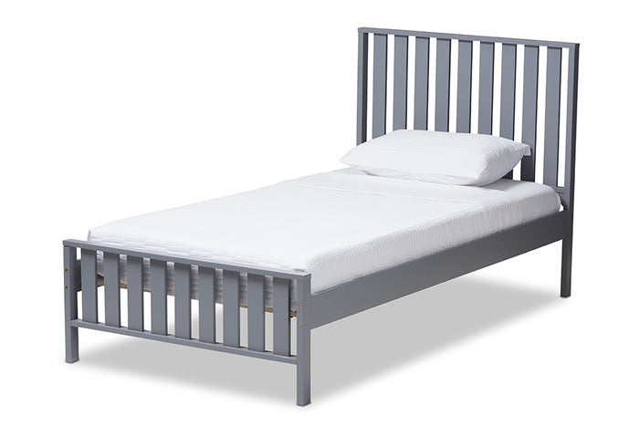 Baxton Studio Harlan Modern Classic Mission Style Grey-Finished Wood Twin Platform Bed