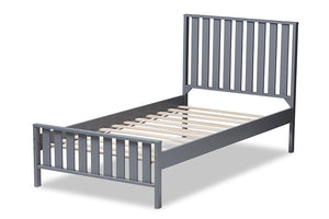 Baxton Studio Harlan Modern Classic Mission Style Grey-Finished Wood Twin Platform Bed Image 5