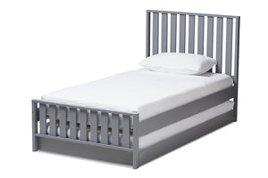 Baxton Studio Harlan Modern Classic Mission Style Grey-Finished Wood Twin Platform Bed with Trundle Image 3
