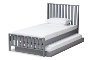 Baxton Studio Harlan Modern Classic Mission Style Grey-Finished Wood Twin Platform Bed with Trundle Image 5