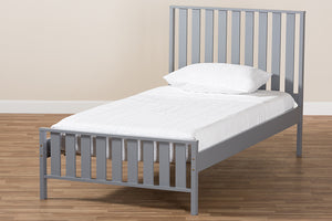 Baxton Studio Harlan Modern Classic Mission Style Grey-Finished Wood Twin Platform Bed Image 9