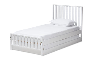 Baxton Studio Harlan Modern Classic Mission Style White-Finished Wood Twin Platform Bed with Trundle-Beds with Trundle-HipBeds.com