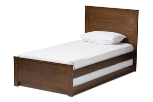 Baxton Studio Catalina Modern Classic Mission Style Brown-Finished Wood Twin Platform Bed with Trundle-Beds with Trundle-HipBeds.com