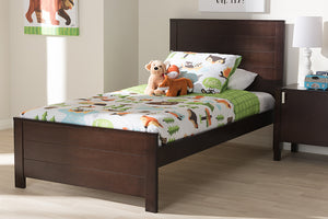 Baxton Studio Catalina Modern Classic Mission Style Dark Brown-Finished Wood Twin Platform Bed-Platform Beds-HipBeds.com