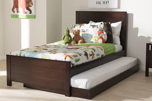 Baxton Studio Catalina Modern Classic Mission Style Dark Brown-Finished Wood Twin Platform Bed with Trundle-Beds with Trundle-HipBeds.com