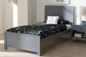 Baxton Studio Catalina Modern Classic Mission Style Grey-Finished Wood Twin Platform Bed-Platform Beds-HipBeds.com