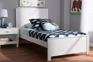 Baxton Studio Catalina Modern Classic Mission Style White-Finished Wood Twin Platform Bed-Platform Beds-HipBeds.com