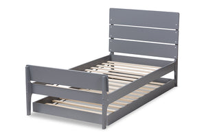 Baxton Studio Nereida Modern Classic Mission Style Grey-Finished Wood Twin Platform Bed Image 7