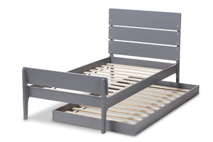 Baxton Studio Nereida Modern Classic Mission Style Grey-Finished Wood Twin Platform Bed Image 8