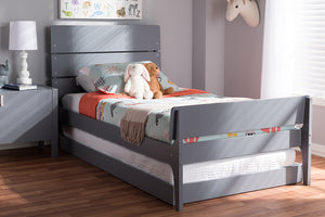 Baxton Studio Nereida Modern Classic Mission Style Grey-Finished Wood Twin Platform Bed Image 11