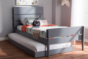 Baxton Studio Nereida Modern Classic Mission Style Grey-Finished Wood Twin Platform Bed Image 12