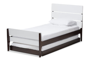 Baxton Studio Nereida Modern Classic Mission Style White and Dark Brown-Finished Wood Twin Platform Bed-Beds with Trundle-HipBeds.com