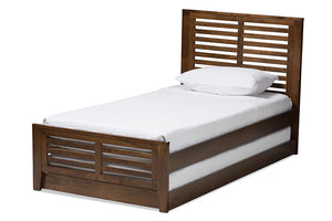 Baxton Studio Sedona Modern Classic Mission Style Brown-Finished Wood Twin Platform Bed with Trundle-Beds with Trundle-HipBeds.com