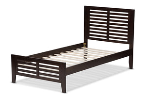 Baxton Studio Sedona Modern Classic Mission Style Dark Brown-Finished Wood Twin Platform Bed Image 5