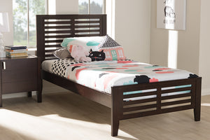 Baxton Studio Sedona Modern Classic Mission Style Dark Brown-Finished Wood Twin Platform Bed Image 8