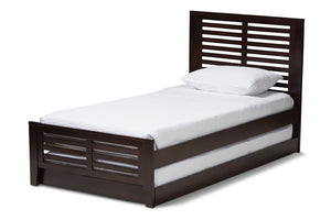 Baxton Studio Sedona Modern Classic Mission Style Dark Brown-Finished Wood Twin Platform Bed with Trundle-Beds with Trundle-HipBeds.com